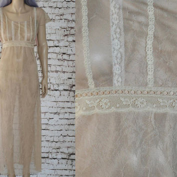 90s Maxi Dress Sheer Mesh Lace Slip Overlay See Through Tan Beige Nude Grunge hipster gypsy boho festival Hippie Peasant Prairie Y2K 70s M L