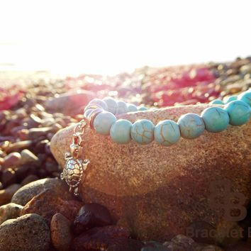 Turquoise Beaded Turtle Charm Bracelet, Women's Jewelry