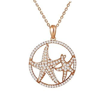 Rose Gold over Sterling Silver Alamea Hawaii Double Starfish RoundPendant Necklace