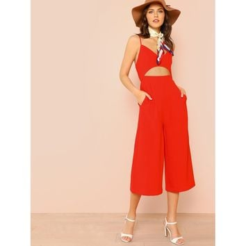 Cut Out Front Cami Culotte Jumpsuit