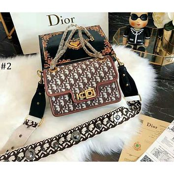DIOR 2018 new trend female retro imprint letter chain bag shoulder bag #2