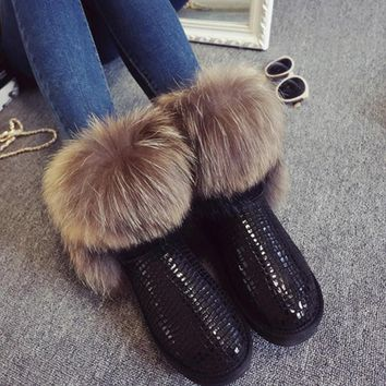 Women's Natural Real Fox Fur Snow Boots 100% Genuine Leather women Boots Female Winter