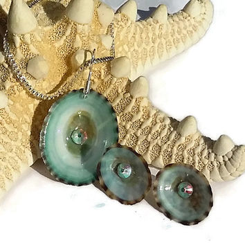 Beach Jewelry - Seashell Necklace and Earrings Set - Limpet Shells and Swarovski Crystals Beach Jewelry