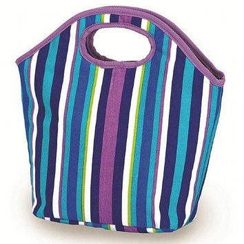 2 Lunch Bags - Lavender Stripe Print