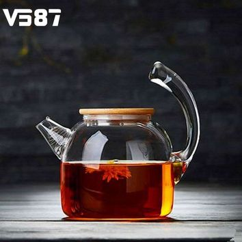 1000ml Glass Water Kettle High Capacity Handcraft Cookware Water Jug Chinese Flower Teapot Filter Bamboo Lid Heat Resistant