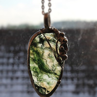 Green Moss Agate pendant, spring necklace, Agate stone, birthstone, big large, woodland jewelry, botanical, statement pendant necklace