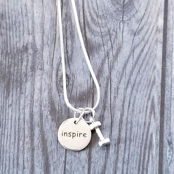 Inspire/Dumbbell Necklace (Sterling Silver)