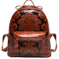 Flower Embossed Backpack - Brown