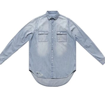 Denim Extended & Distressed Shirt