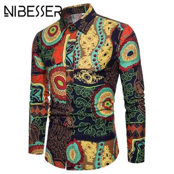 African Clothes Hip Hop Men Shirts 3D Printed Turn-down Collar Dress Clothing Long Sleeve Casual Dresses Male Shirts