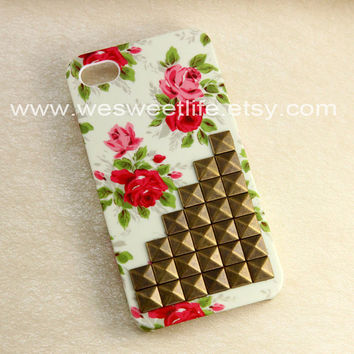 Iphone 4 case, Studded Iphone 4s Case, Bronze Studded Iphone Case, Vintage red Flower Rose white Iphone 4 4S Case, Hard case