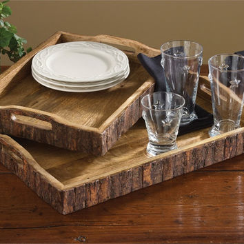Rustic Wood with Bark Edge Trays