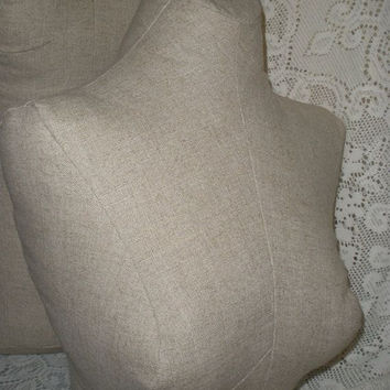 Linen Dress form bust to the waist, jewelry making store display decor