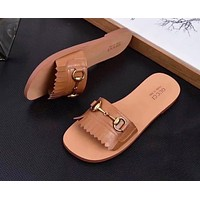 GUCCI Summer Trending Women Stylish Tassel Casual Sandal Slipper Shoes Brown I-ALS-XZ