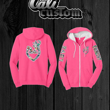 Love Country Camo Heart Pink Zip Up Hoodie