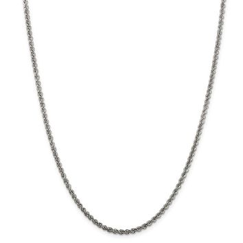 925 Sterling Silver Solid Rope Polished Twisted 2.5mm Chain Necklace, Bracelet or Anklet