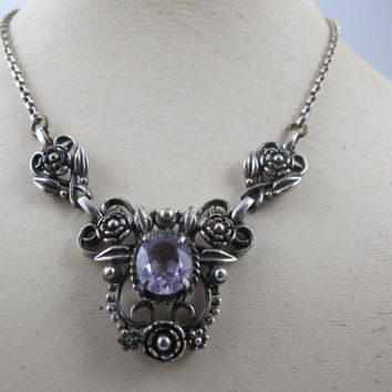Amethyst Art Deco Necklace, Silver Amethyst Necklace, Art Nouveau Jewelry, Transitional Jewelry, Antique 1910 Jewelry, February Birthstone
