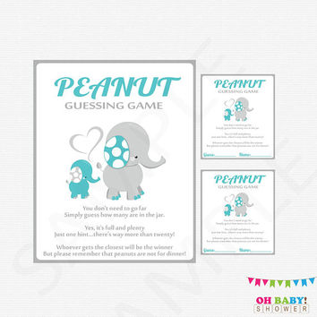 Teal Elephant Baby Shower, Peanut Guessing Game, Guess How Many, Teal and Gray Baby Shower Games Boy Printable Sign Instant Download, ELTBG