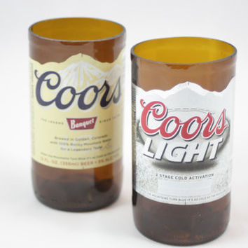 Drinking Glasses Upcycled from Coors or Coors Light Beer Bottles, Unique Gift, Home Decor Glassware, Beer Lover Gift, ONE glass