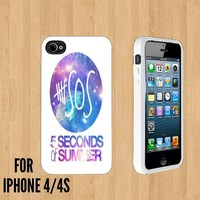 5 SOS Five Seconds Of Summer nebula Custom made Case/Cover/skin FOR Apple iPhone 4/4S - White - Rubber Case ( Ship From CA)
