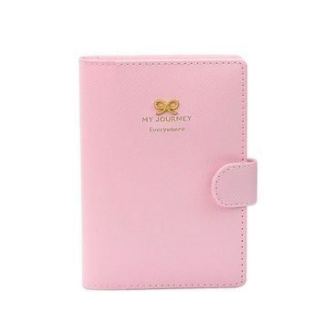 Women leather card holder Business Passport Holder Protect Cover Case Organizer Sweet Bowknot Crown Buckles #YW