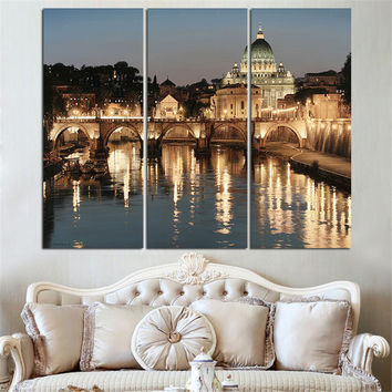 Modern Canvas Painting City Night Landscape HD Poster Quadro Canvas Art Home Decor Oil Pictures for Living Room No Frame 3 Panel
