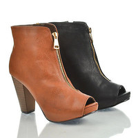 Olivaly2 Peep Toe Zip Up Low Platform High Stacked Heel Ankle Bootie