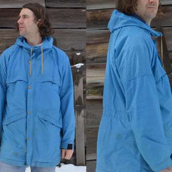 Vintage 1970's The Great Pacific Iron Works Pre Patagonia Blue Cordura Mountain Parka