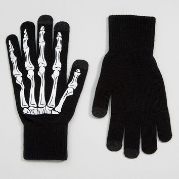ASOS Halloween Touchscreen Gloves in Black with Skeleton Print at asos.com
