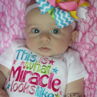 This Is What A Miracle Looks Like Embroidered bodysuit or Tee - New Baby - Miracle Baby - Boutique Style Shirt