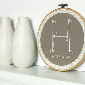 $12.00 Happiness Typography Geometric Screenprint by sweetharvey on Etsy
