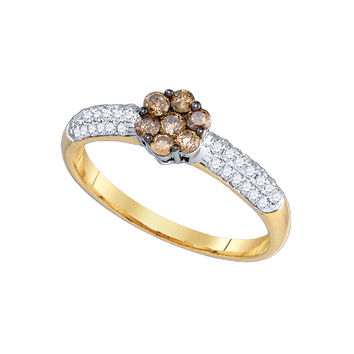 Cognac Diamond Flower Ring in 10k Gold 0.55 ctw