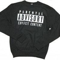 21 Century Clothing Unisex-Adult Parental Advisory Sweater Small Black
