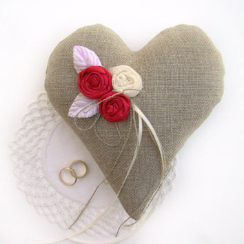 Ring Bearer Heart Pillow, Linen Burlap Ring Cushion, Deep Coral Wedding Heart, Wedding Ring Pillow, Rustic Chic, Romantic Boho Wedding