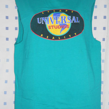 Vintage 80s T Shirt Universal Studios Teal Tank Top Collectible