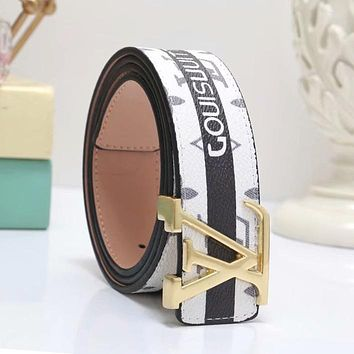 LV Louis Vuitton Fashion Woman Men Smooth Buckle Belt Print Leather Belt White/Black Stripe I-WMXB-PFSH