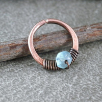 Unique Nose Ring Antiqued Copper Wire Wrap Gemstone Nose Hoop Apatite Crystal Nose Hoop 6mm 7mm 8mm 10mm 12mm Hoop Septum Ring 18 Gauge