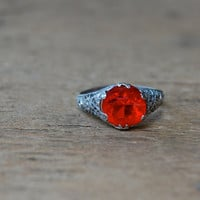 RANIER CHERRY 1920s filigree costume ring by jeanjeanvintage