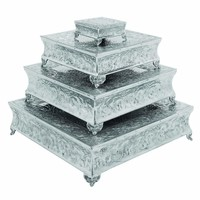 Square Aluminum Cake Stand with Classic Embossed Details, Set of Four, Silver By Benzara