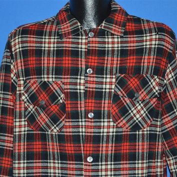 50s Red Plaid Wool Button Down shirt Large