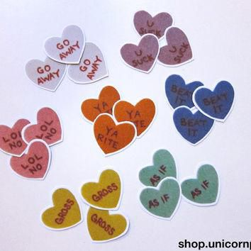 Mean Conversation Hearts Sticker Set