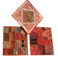 Indian Handmade Vintage Cushion Cover Patchwork Embroidered Pillow Sham set of 3