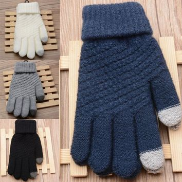 Fashion 1 Pair Unisex Touch Screen Gloves Stretch Knit Mittens For Mobile 4 Colors Free Size