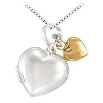 Sterling Silver Heart Locket with 14K Yellow Heart Dangle Pendant - 24.00 X 18.00 MM