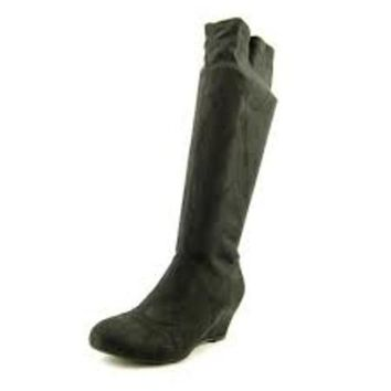 Nine West Genieon Women Micro Suede Fabric Mid Calf Boot ~ Black