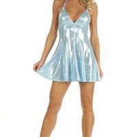 Sassy And Classy Metallic Halter Top Skater Dress