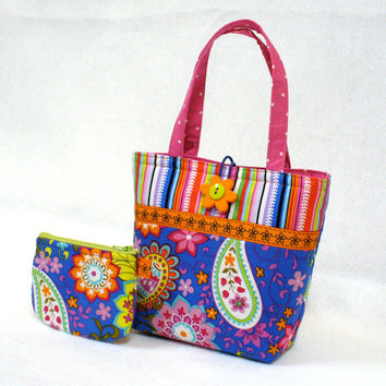 Paisley Spree Fabric Little Girls Purse Coin Purse Set Mini Tote Bag Childs Purse Kids Bag Michael Miller Colorful Royal Blue MTO