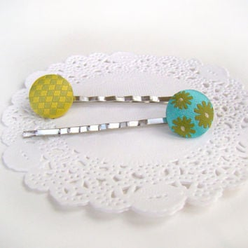 Spring Bobby Pin Set, Girls Easter Basket, Cute Button Pins, Little Girl Hair Accessories, Bright Colours, Spring Colours