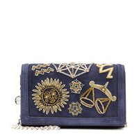 Embellished suede shoulder bag