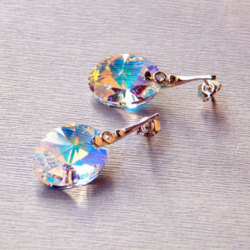 Swarovski Crystal AB rainbow oval pendant dangle earrings sterling silver ear wires